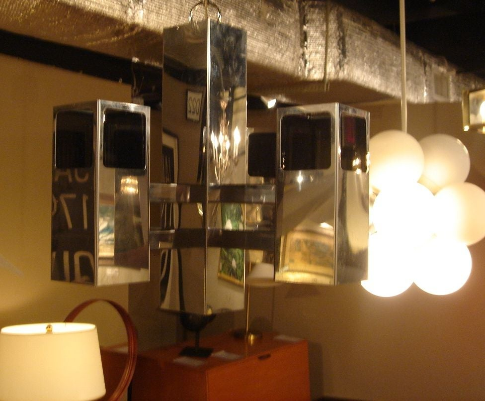 Late 20th Century 1970s Chrome & Smoked Lucite Chandelier by Robert Sonneman For Sale