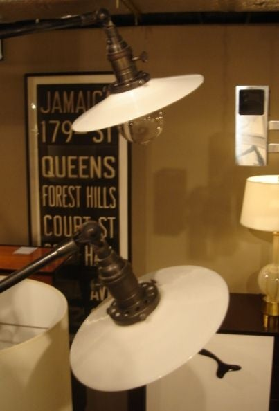 Pair of Vintage O.C. White Industrial Wall-Mount Swing-Arm Lamps 3
