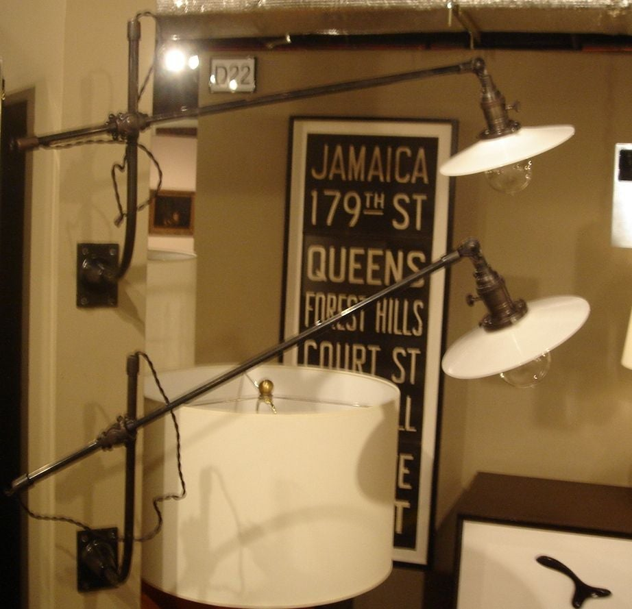 Pair of Vintage O.C. White Industrial Wall-Mount Swing-Arm Lamps 10
