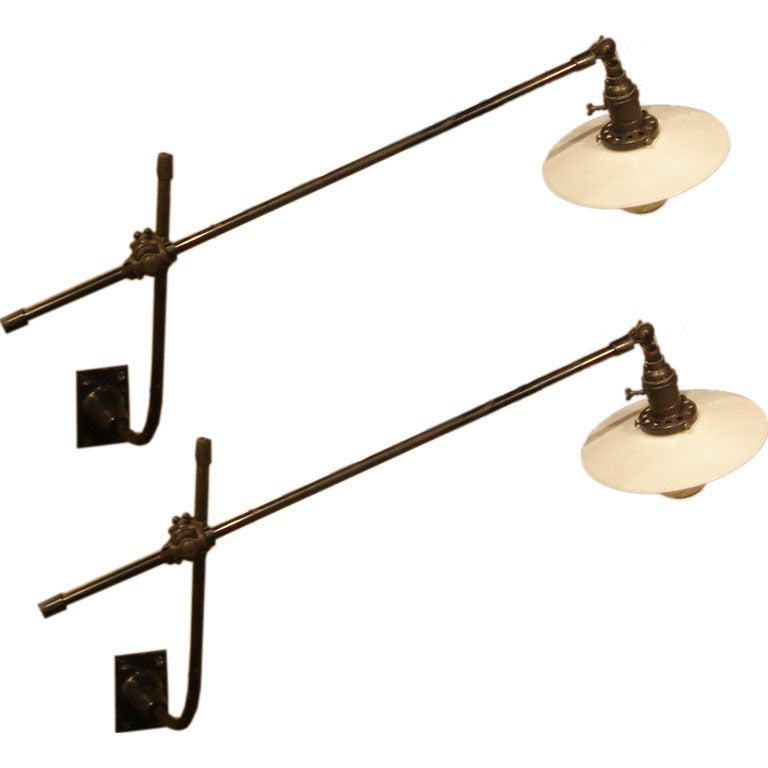 Wall Mounted Lamps With Swing Arms : Pair of Vintage O.C. White Industrial Wall-Mount Swing-Arm Lamps at 1stdibs