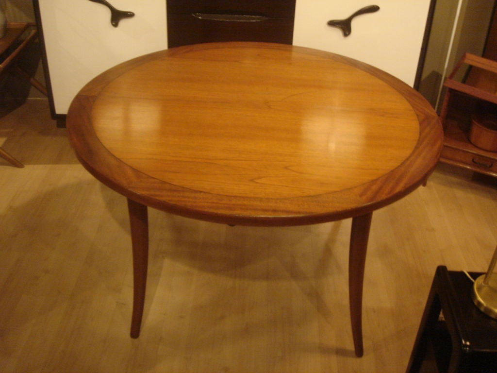 American Klismos Round Dining Table By Harvey Probber For Sale