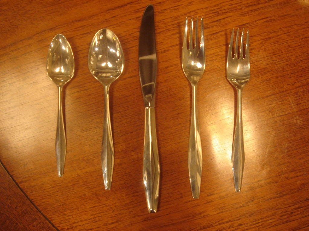 "Set of Gio Ponti Reed & Barton ""Diamond"" Sterling Silverware 2"