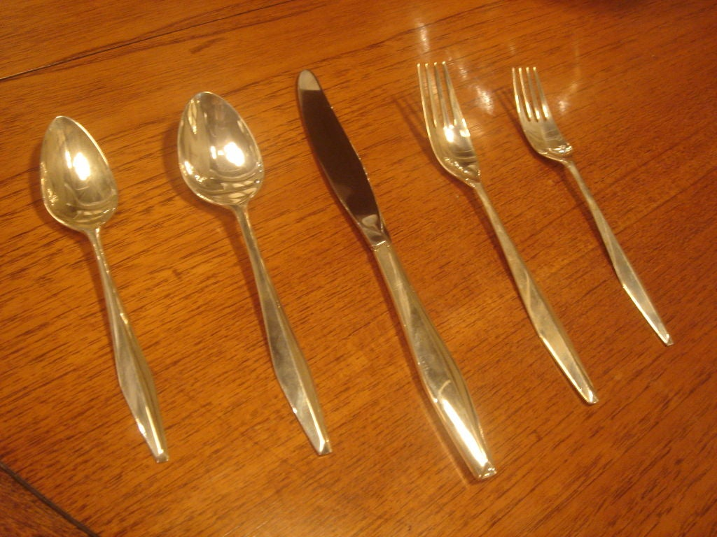 "Set of Gio Ponti Reed & Barton ""Diamond"" Sterling Silverware 3"