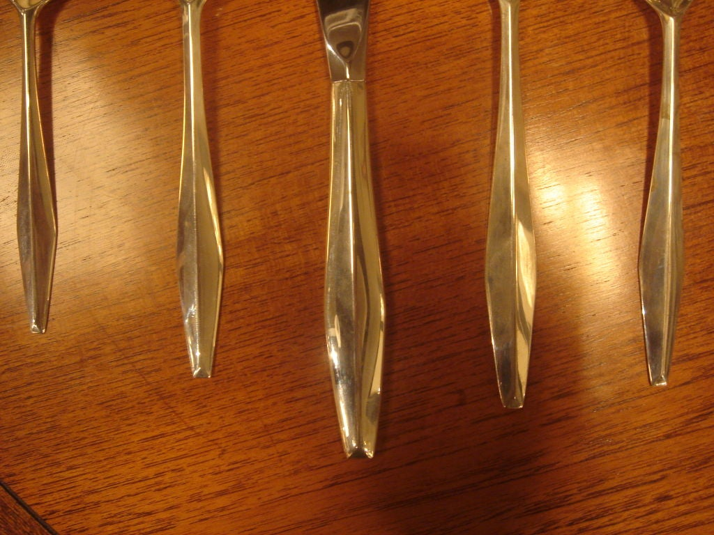 "Set of Gio Ponti Reed & Barton ""Diamond"" Sterling Silverware 4"