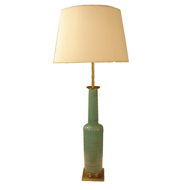 Vintage Green Ceramic Table Lamp By Stiffel At 1stdibs