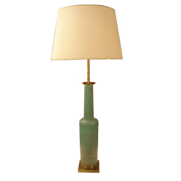 Vintage Green Ceramic Table Lamp By Stiffel At 1stdibs