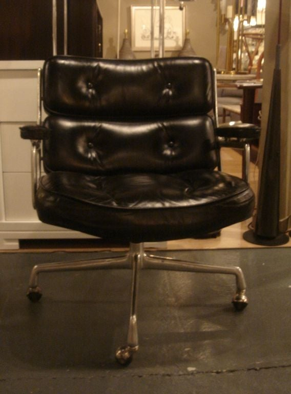 vintage time life desk chair by herman miller in black leather image 2