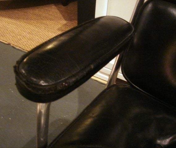 this vintage time life desk chair by herman miller in black leather is