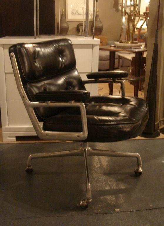 vintage time life desk chair by herman miller in black leather image 3