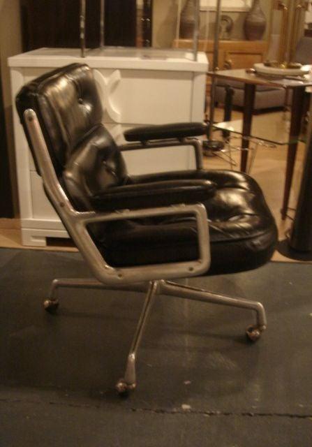vintage time life desk chair by herman miller in black leather image 5