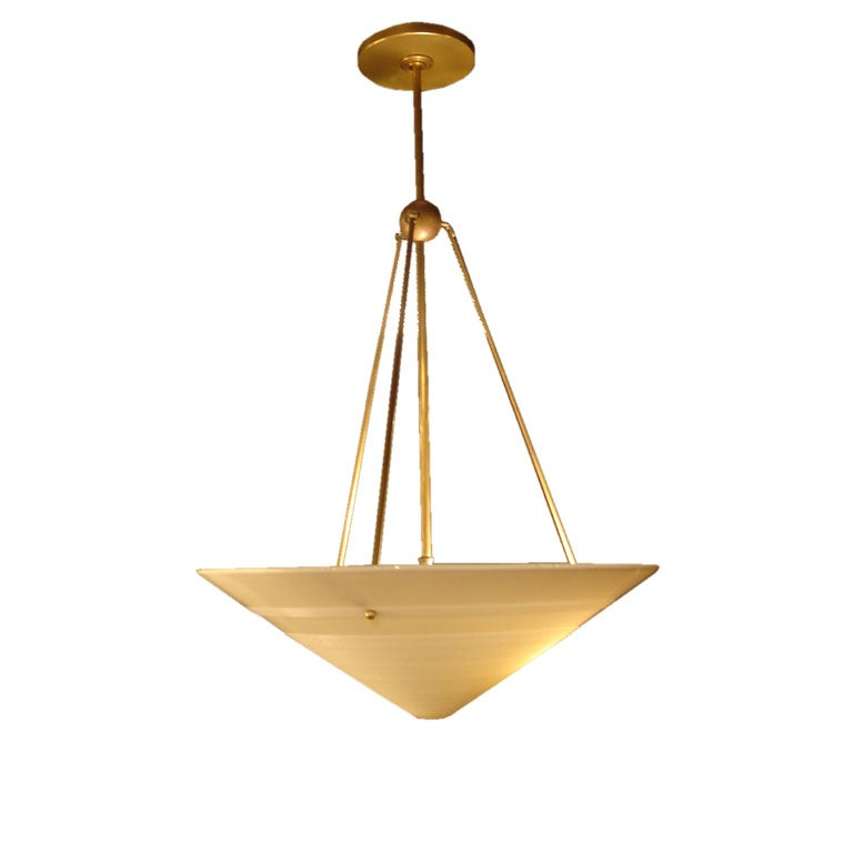 1950s French Milk Glass & Brass Hanging Light Fixture