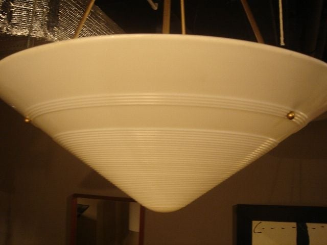 Mid-20th Century 1950s French Milk Glass & Brass Hanging Light Fixture For Sale