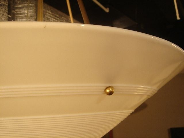 1950s French Milk Glass & Brass Hanging Light Fixture For Sale 1