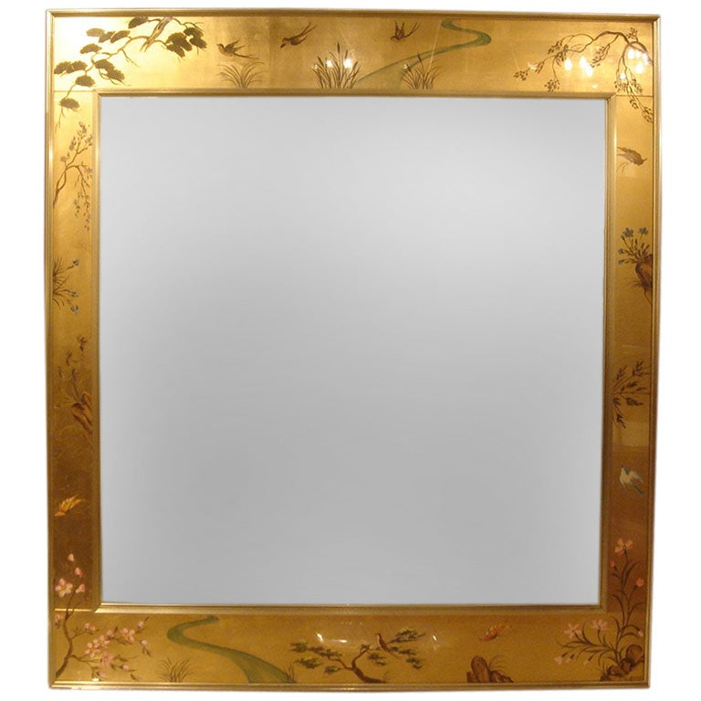 vintage asian style mirror by labarge at 1stdibs
