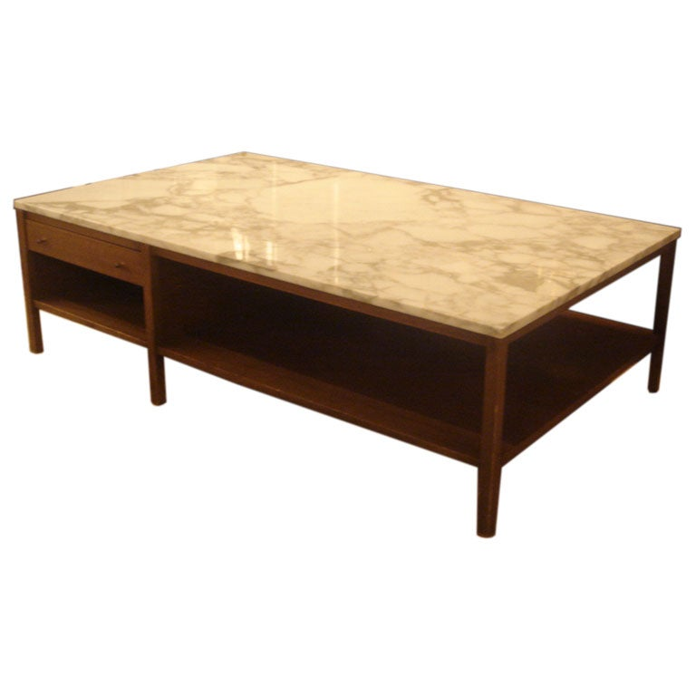 White marble and walnut coffee table by paul mccobb for for Marble and walnut coffee table