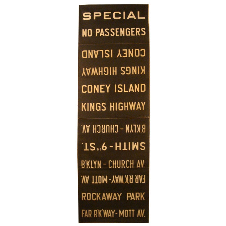 Vintage New York City Subway Sign -