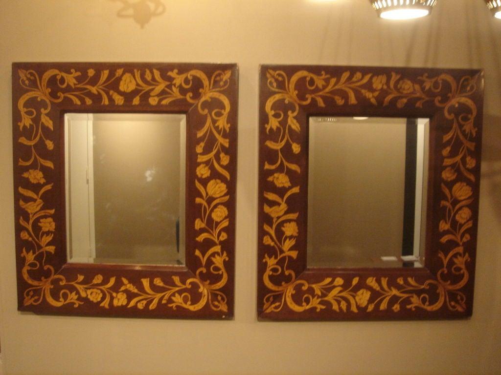 Pair Of Vintage Inlaid Wood Mirrors At 1stdibs
