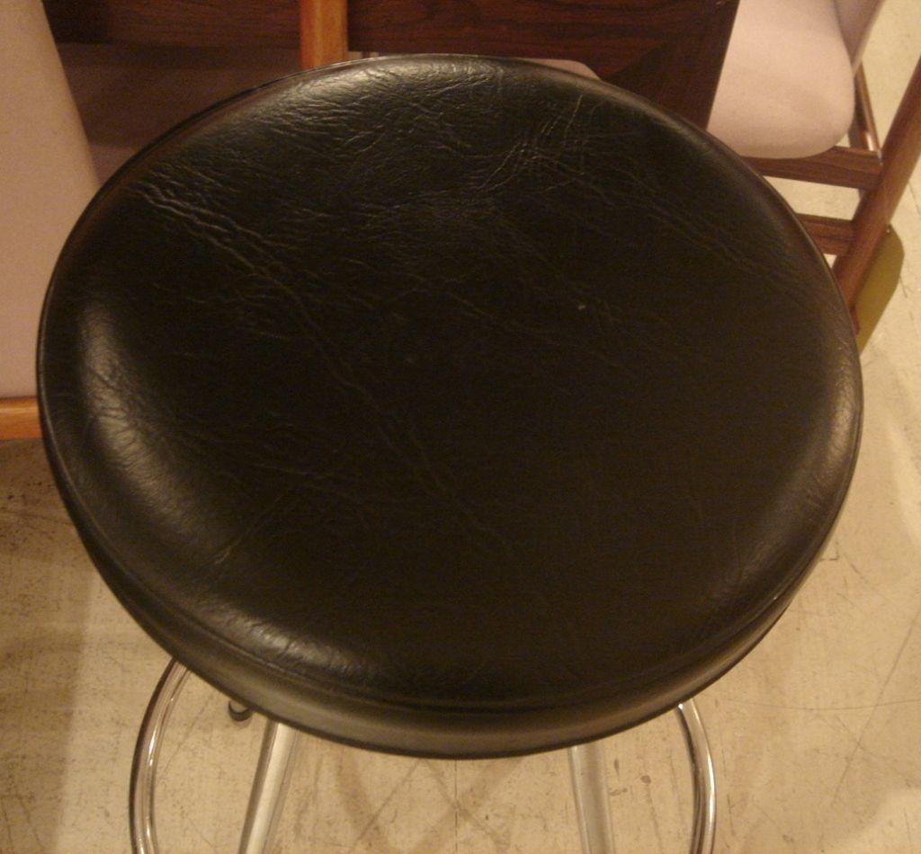 Set Of Vintage Danish Chrome And Black Leather Bar Stools