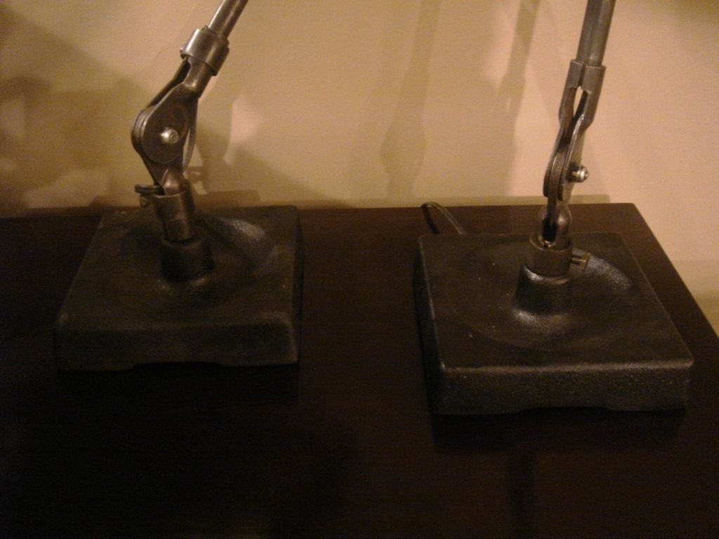 Pair of Industrial Table Lamps by Fostoria In Good Condition For Sale In New York, NY