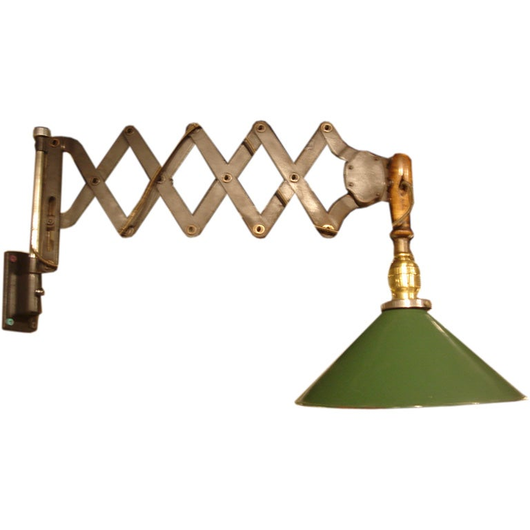 Vintage Industrial Scissor Wall Lamp with Green Cone Shade 1