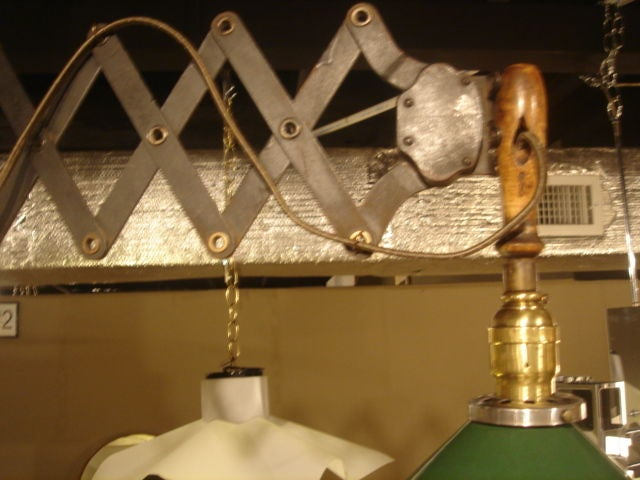 Vintage Industrial Scissor Wall Lamp with Green Cone Shade 2