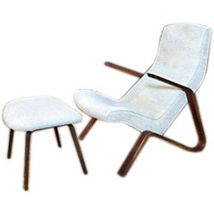Vintage Grasshopper Chair and Ottoman by Eero Saarinen