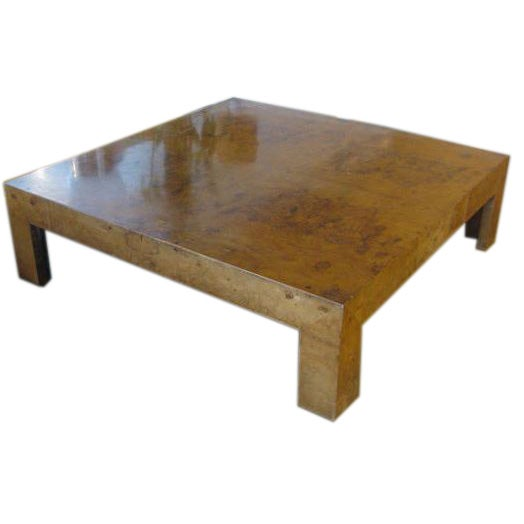 1stdibs Burl Wood Coffee Table: Parsons Style Square Burl Wood Coffee Table By Milo