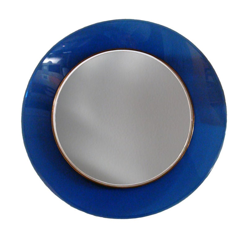 round mirror with blue frame by max ingrand for fontana arte at 1stdibs. Black Bedroom Furniture Sets. Home Design Ideas
