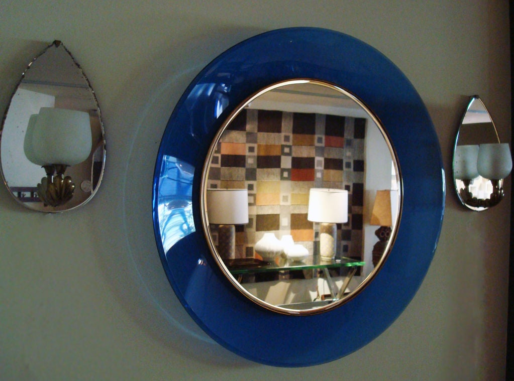 Round Mirror With Blue Frame By Max Ingrand For Fontana