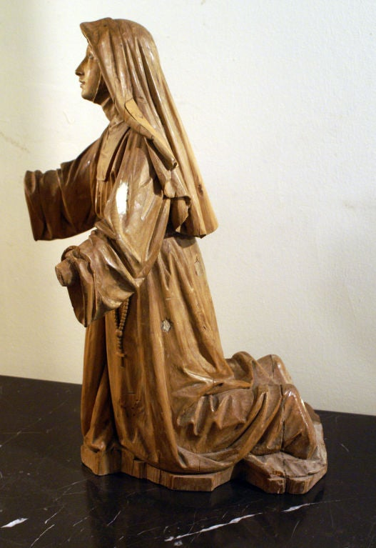 Boxwood carving of a praying nun for sale at stdibs