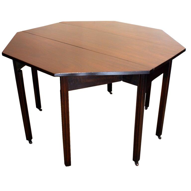 Georgian Mahogany Octagonal Drop Leaf Table