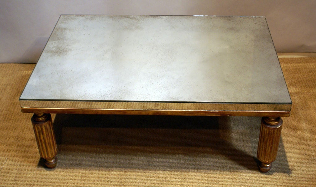 Italian gilt wood mirrored coffee table at 1stdibs for Mirror and wood coffee table