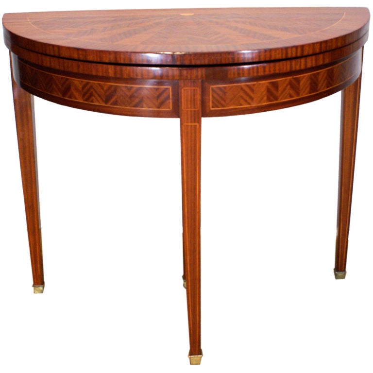 A delightful mahogany french demi lune game table at 1stdibs - Table cuisine demi lune ...