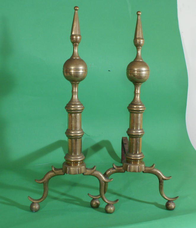Pair of Brass Andirons For Sale 2