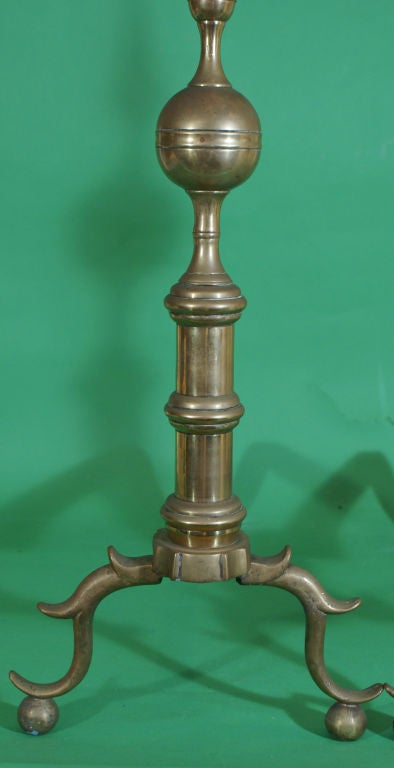 Pair of Brass Andirons In Good Condition For Sale In San Francisco, CA