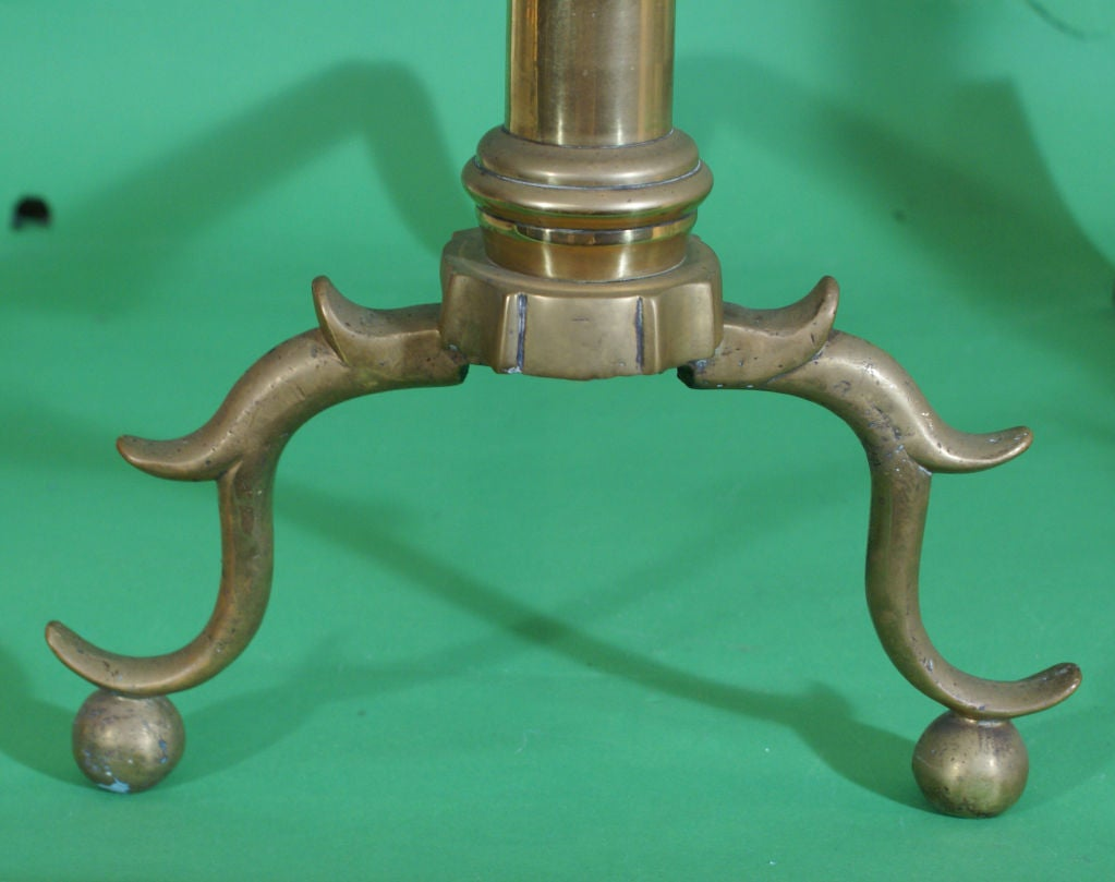 19th Century Pair of Brass Andirons For Sale