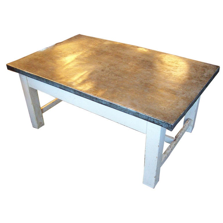 Antique French Zinc Topped White Based Coffee Table At 1stdibs