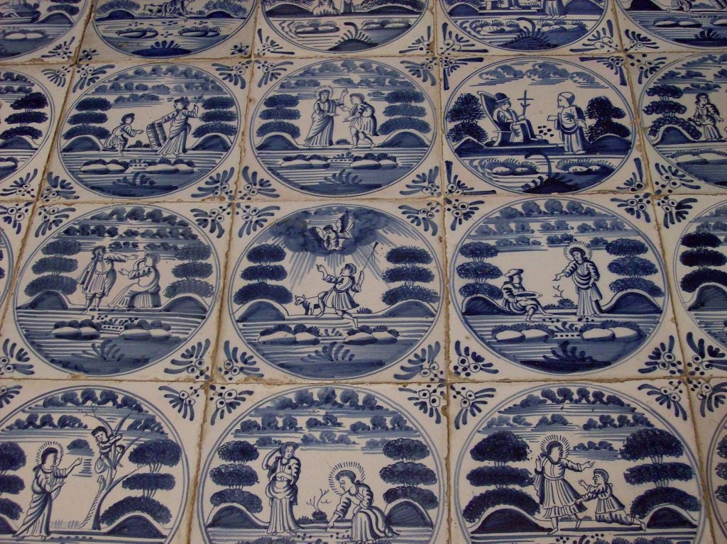 Antique Carved Center Table With Original Delft Tiles At