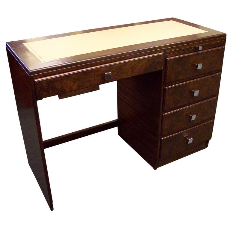 Chic Antique English Mahogany Leather-Topped Midcentury Desk