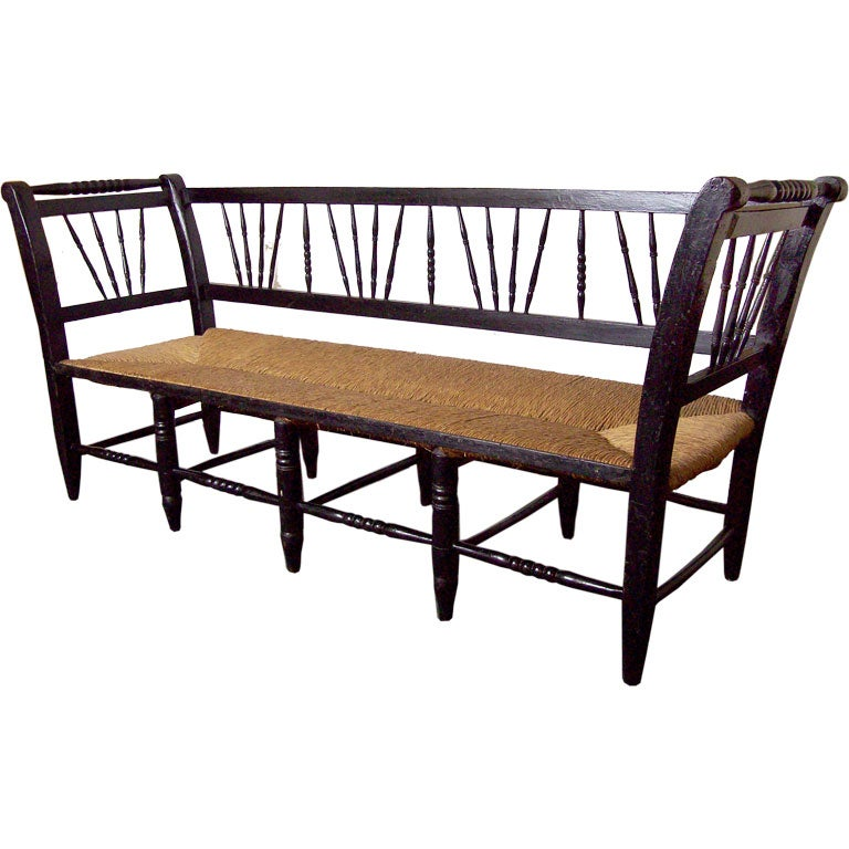 Long Antique French Rush Seat Bench At 1stdibs