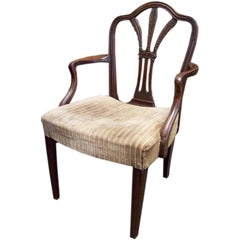 Period English Georgian Mahogany Prince of Wales Feathers Armchair