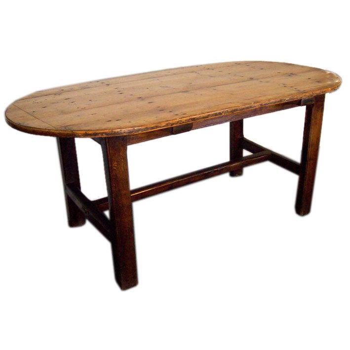 antique french oval farm table  seats six at 1stdibs