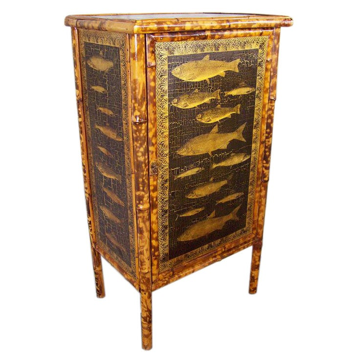 Antique bamboo cabinet with new fish decoupage at 1stdibs for Bamboo kitchen cabinets for sale
