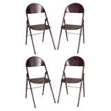 FOUR Vintage French Folding Industrial Steel Chairs