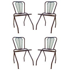 FOUR French Steel Green and Black Folding Chairs
