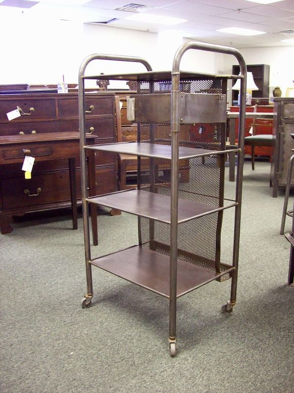 French Industrial Steel Trolley With Drawer At 1stdibs