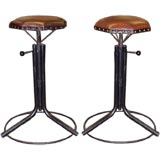 Mid-Century French Industrial Adjustible Height  Stools