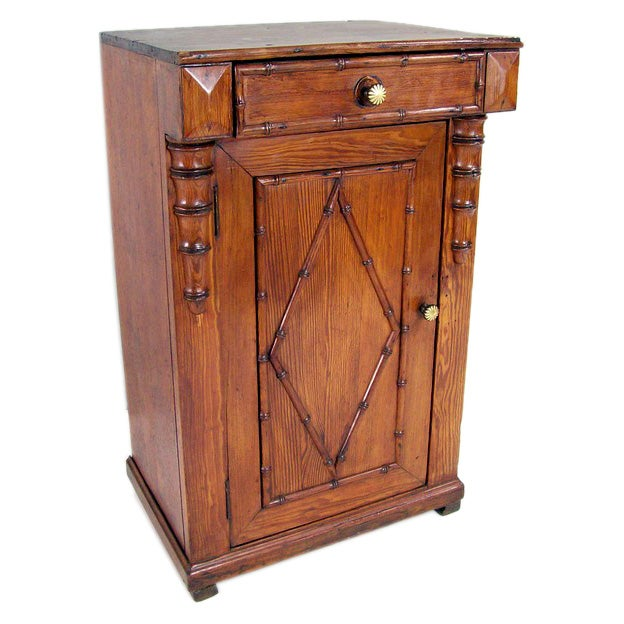 Small antique french faux bamboo cabinet at 1stdibs for Faux fini antique meuble