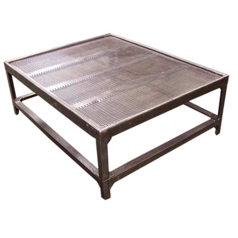 Large French Industrial Steel Coffee Table At 1stdibs