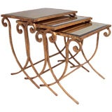 French Deco Nest of Mirrored Tables